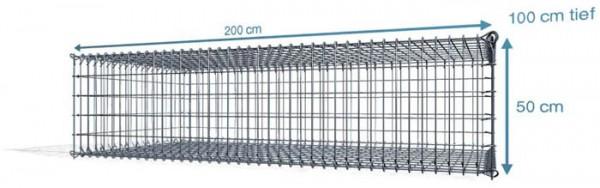Steck Gabionen 200x100x50cm, 4,5 mm, Maschenweite:Front 5x10cm, Rest 10x10cm