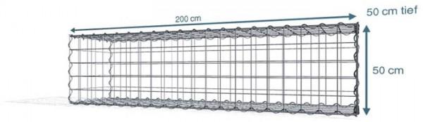 Spiral-Gabione 200x50x50cm, Maschenweite 10x10