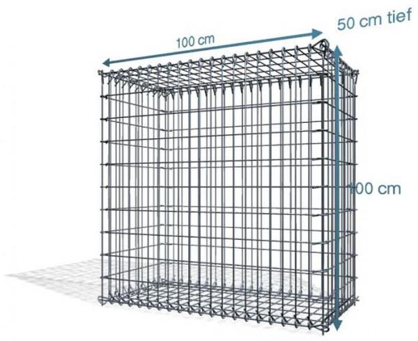 Steck Gabionen 100x50x100cm, 4,5 mm, Maschenweite: Front in 5x10cm, Rest in 10x10cm