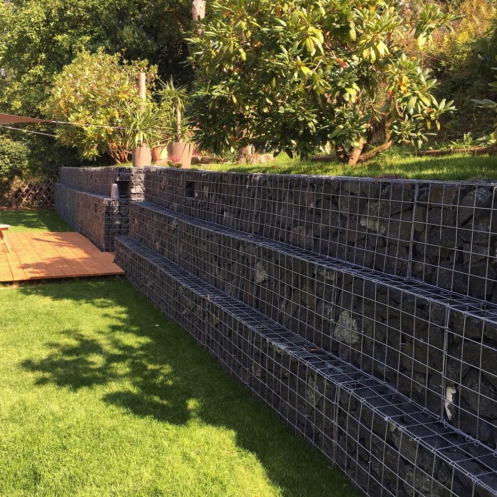Super Eine Gabionen Hangbefestigung als Terrassenmauer | Gabionen Kaiser WG02