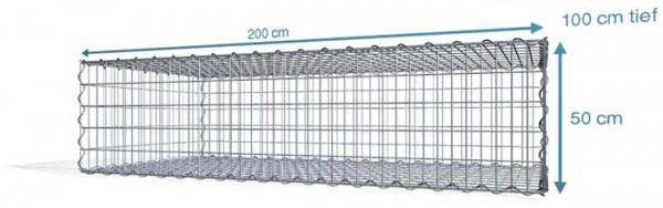 Spiralgabionen 200x100x50cm, Maschenweite: Front 5x10cm, Rest 10x10cm