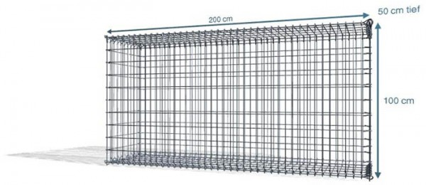 Steck Gabione 200x50x100cm, Maschenweite 5x10