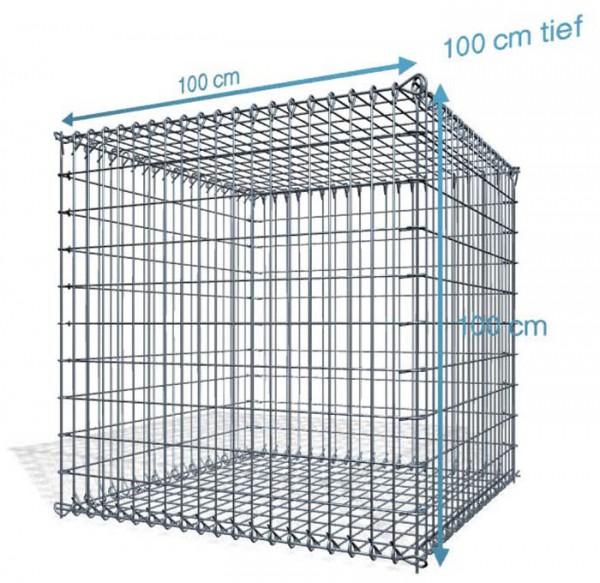 Steck Gabionen 100x100x100cm, 4,5 mm, Maschenweite: Front 5x10cm, Rest 10x10cm