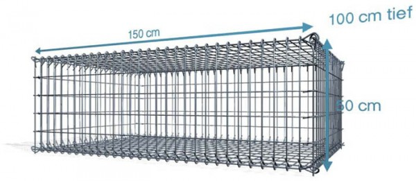 Steck Gabionen 150x100x50cm, 4,5 mm, Maschenweite: Front 5x10cm, Rest 10x10cm