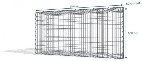 Spiralgabionen 200x50x100cm, Maschenweite: Front 5x10cm, Rest 10x10cm