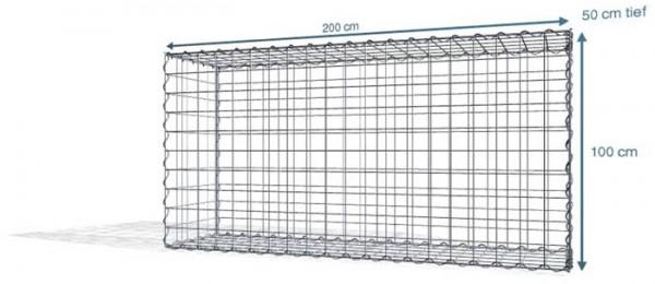 Spiral-Gabione 200x50x100cm, Maschenweite 10x10
