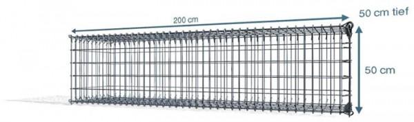 Steck Gabionen 200x50x50cm, 4,5 mm, Maschenweite: Front 5x10cm, Rest 10x10cm