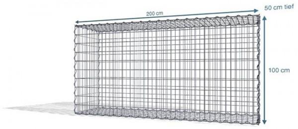 Spiral-Gabione 200x50x100 cm, Maschenweite: 5x10
