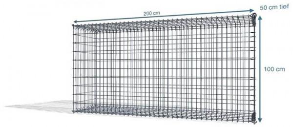 Steck Gabionen 200x50x100cm,4,5 mm, Maschenweite: Front 5x10cm, Rest 10x10cm