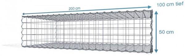 Spiral-Gabione 200x100x50cm, Maschenweite 10x10