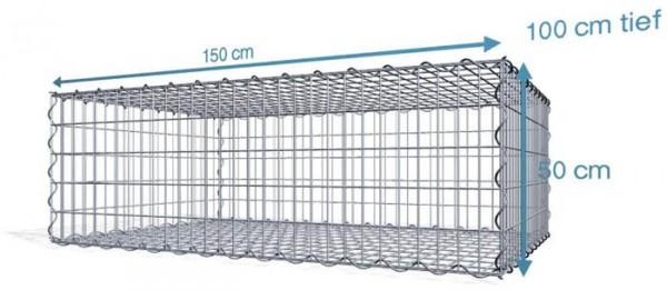 Spiralgabionen 150x100x50cm, Maschenweite: Front 5x10cm, Rest 10x10cm