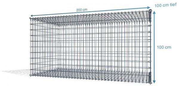 S-Gabionen , 200x100x100cm, Maschenweite 5x10cm