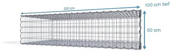 Spiral-Gabione 200x100x50 cm, Maschenweite: 5x10