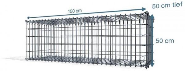 Steck Gabionen 150x50x50cm, 4,5 mm, Maschenweite: Front 5x10cm, Rest 10x10cm