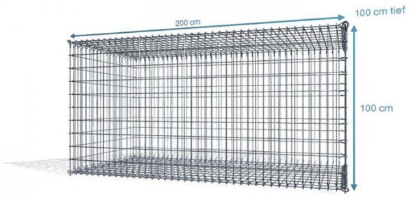 Steck Gabionen 200x100x100cm, 4,5 mm, Maschenweite: Front 5x10cm, Rest 10x10cm