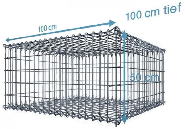 Steck Gabionen 100x100x50cm, 4,5 mm, Maschenweite: Front 5x10cm, Rest 10x10cm