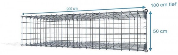 Steck Gabionen 200x100x50cm, Maschenweite 10x10