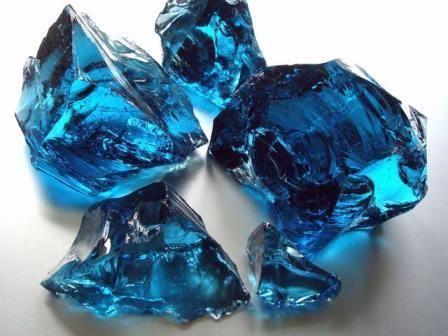 Glassteine für Gabionen Blau