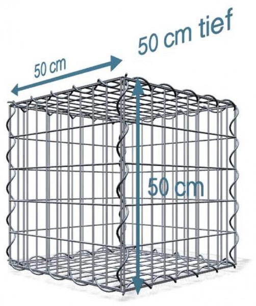 Spiralgabione 50x50x50cm, Maschenweite: Front 5x10cm, Rest 10x10cm