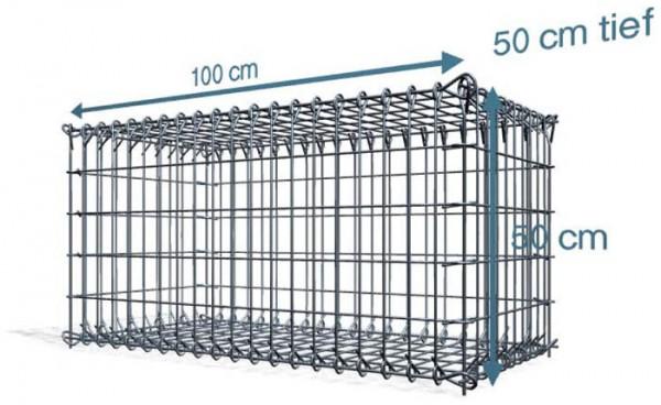 Steck Gabionen 100x50x50cm, 4,5 mm, Maschenweite: Front in 5x10cm, Rest in 10x10cm