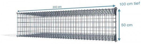 S-Gabionen, 200x100x50cm, Maschenweite 5x10cm