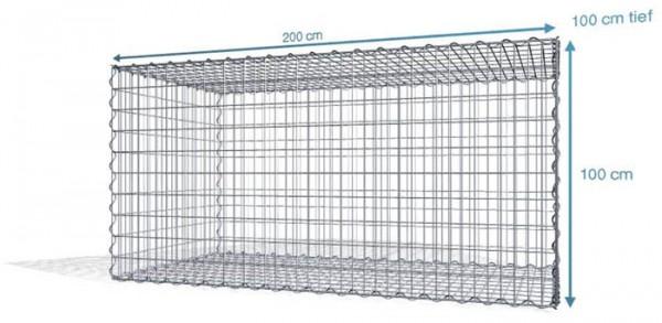 Spiralgabionen 200x100x100cm, Maschenweite: Front 5x10cm, Rest 10x10cm