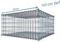 S-Gabione, 100x100x50cm, Maschenweite 10x10cm