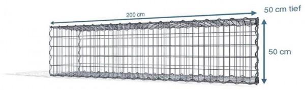 Spiralgabione 200x50x50cm, Maschenweite: Front 5x10cm, Rest 10x10cm